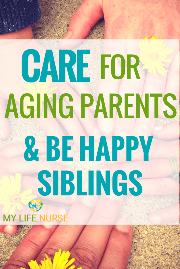 family hands in a circle - how to care for for aging parents & be happy siblings