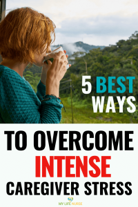 Best Ways to Overcome Intense Caregiver Stress - woman w coffee in mountains