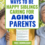 mother & adult children -5 Tips to be Happy Siblings Caring for Aging Parents