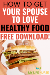 Juicy fast-food burger about to be bitten - How to Get Your Spouse to Love Healthy Food!