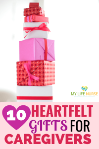 stack of gifts in pretty paper - 10 heartfelt gifts for caregivers