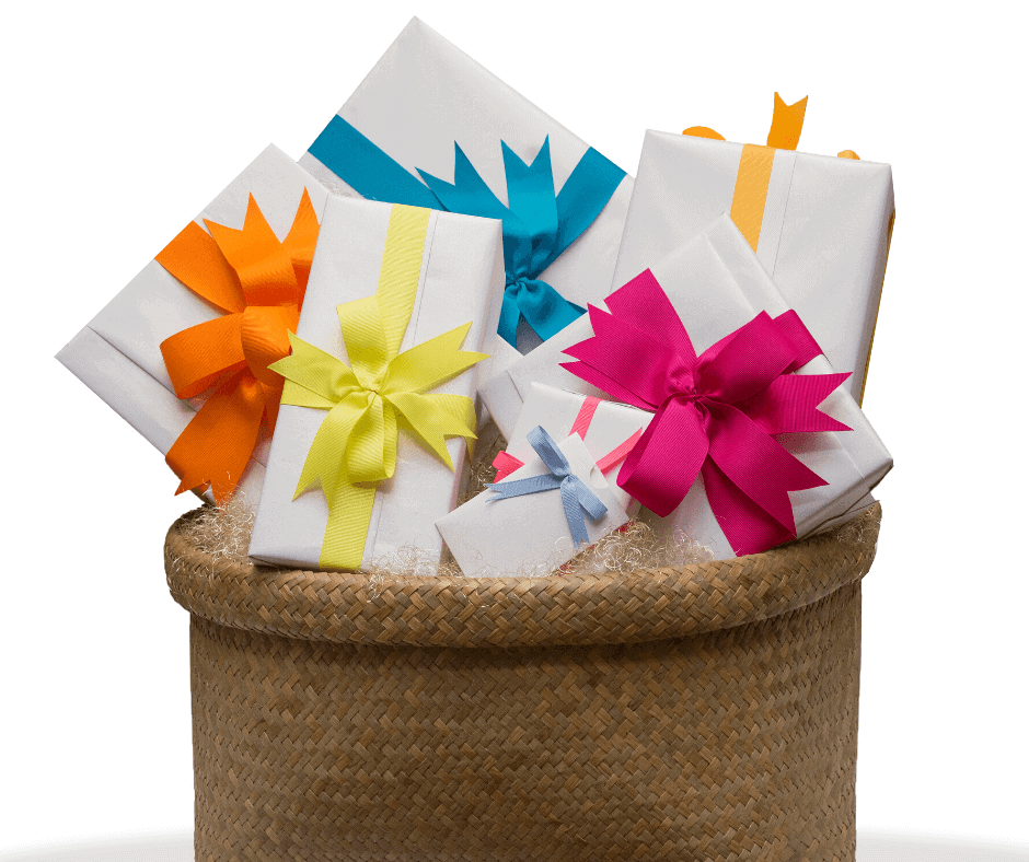 basket w multiple boxes wrapped in white paper, each w a different color bow