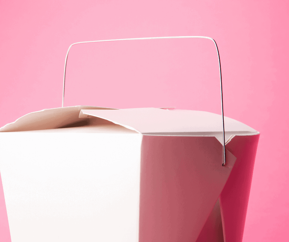 white take out box w pink background