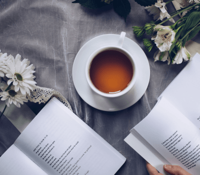 cup of tea & poetry books - 77 5-minute self-care ideas for 5-minute breaks-tea