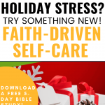 Faith-driven self-care gift w white paper & red bow