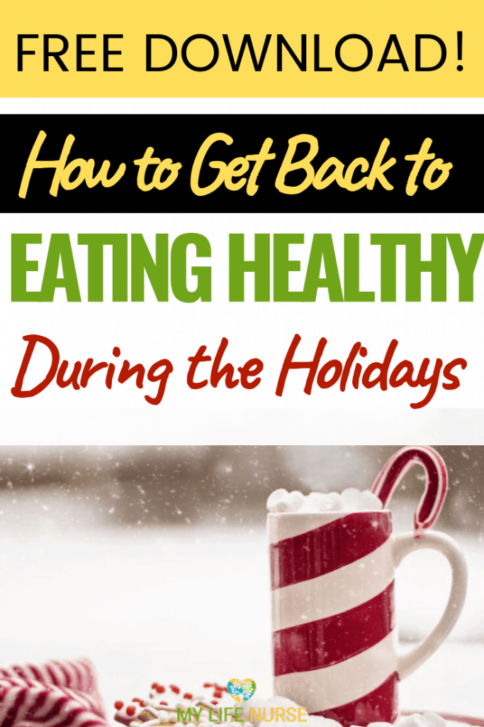 hot chocolate in mug w candy cane - Get Back to Eating Health During the Holiday Season