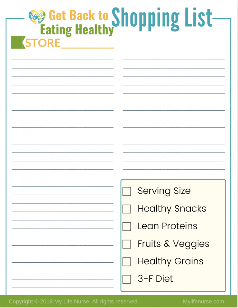 Shopping List Get back to eating healthy during the holiday season