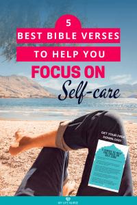 5 Verses to Help You Focus on Self-care legs crossed - on beach