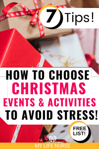 How to Choose Christmas events & activities to avoid stress! - red paper on gift