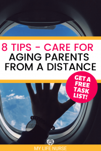 how to care for aging parents from a distance - hand on plane window