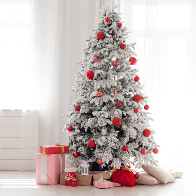 White Christmas Tree w red balls and gifts
