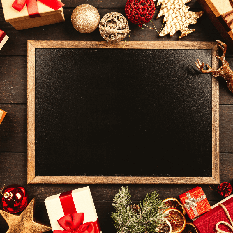 how to choose christmas events & activities to avoid stress - chalkboard