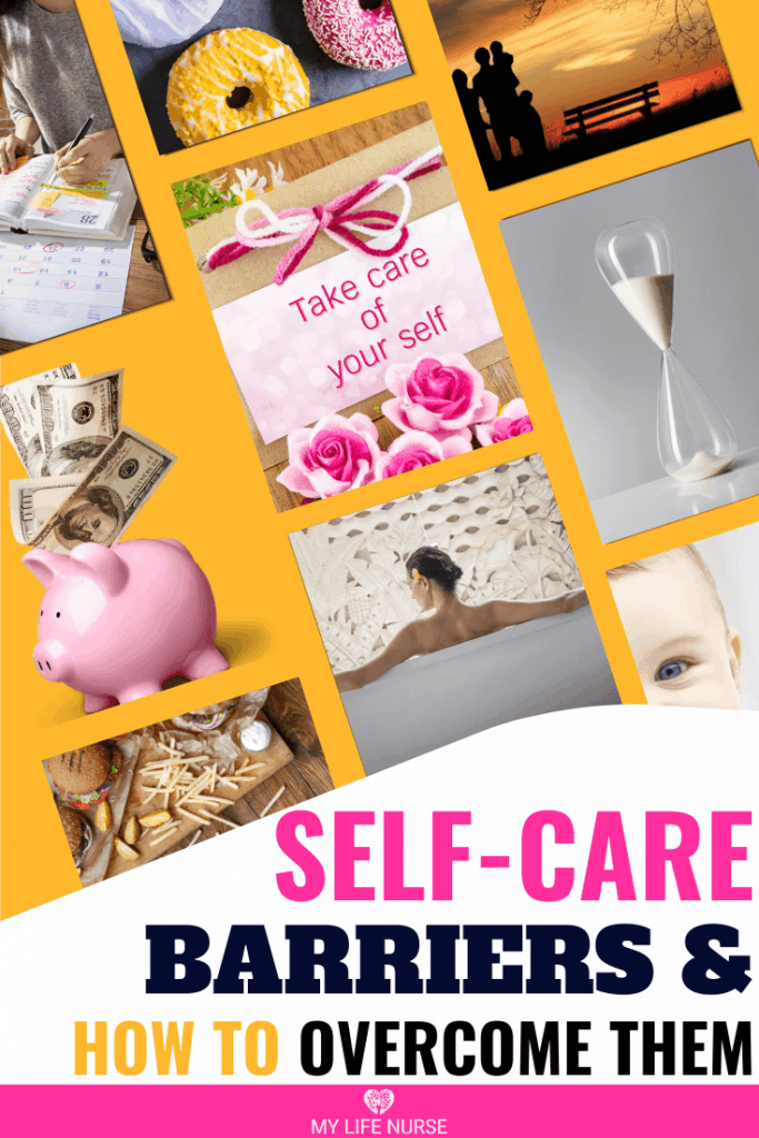 collage of barriers to self-care: money, time, children, mood
