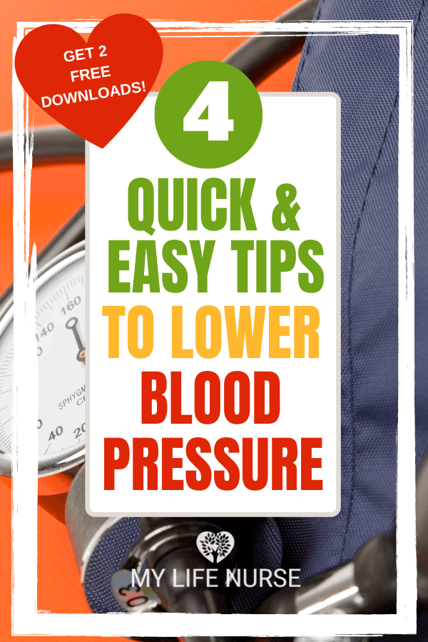 Blood pressure cuff with orange background. 4 quick & easy tips to lower blood pressure.