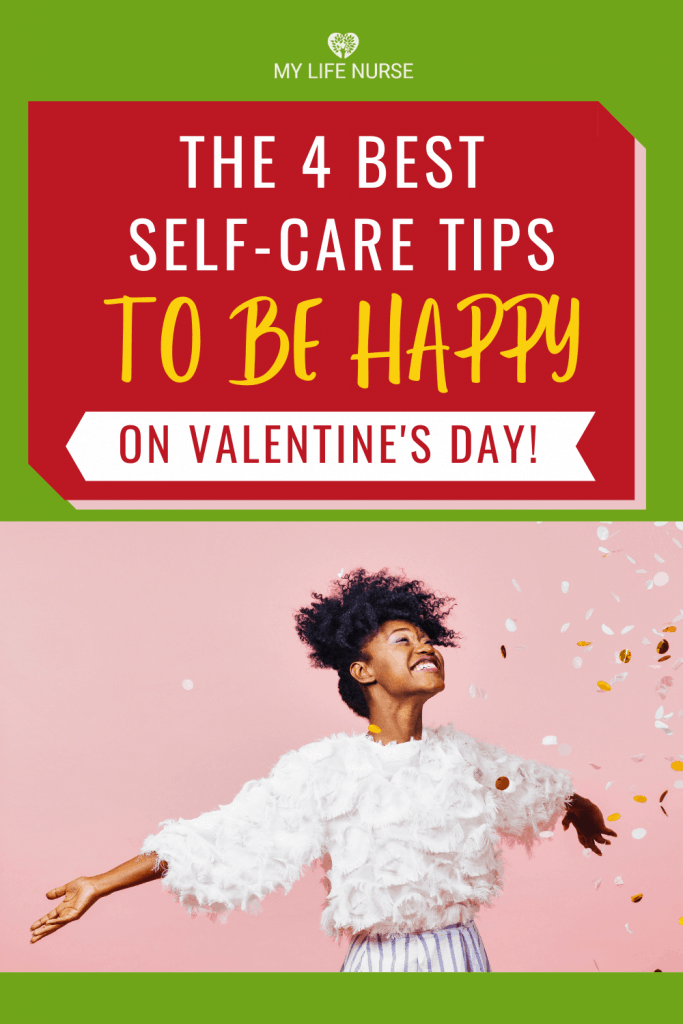 Happy woman standing with confetti - Best Self-care Tips to be happy on valentine's day