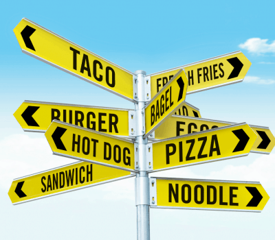Yellow direction signs with names of food on them: What Should I Eat?