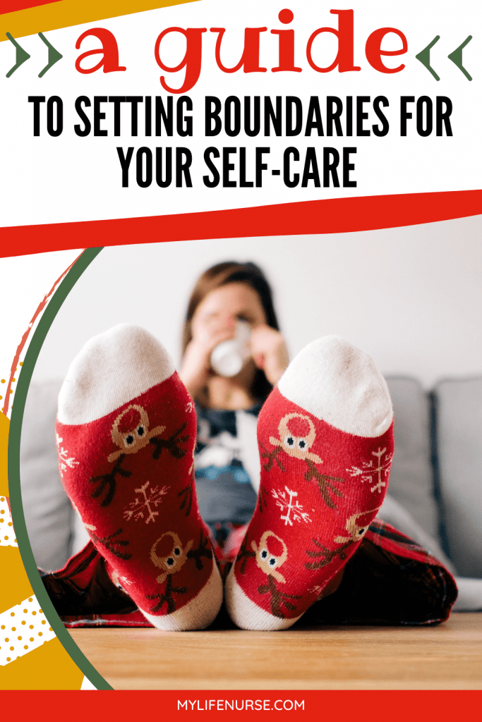 woman w Rudolph socks on relaxing on couch - A Guide to Setting Boundaries for Your Self-care