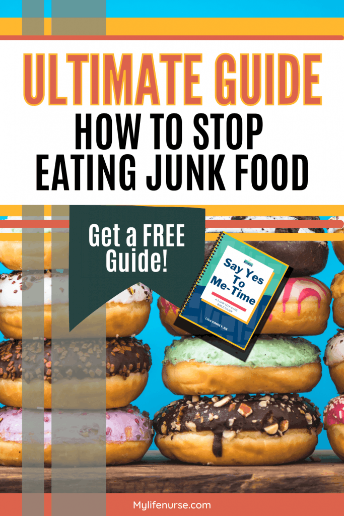 colorful icing on donuts - How to stop eating junk food text